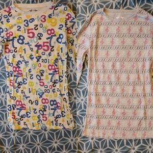 Set of 2 Thermal Shirts Music & Math Colorful!